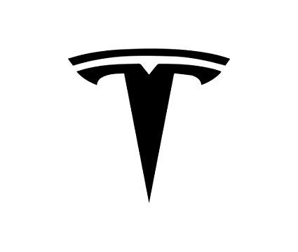 Tesla logo in black and white