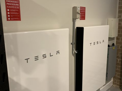 Tesla Powerwall 2's mounted