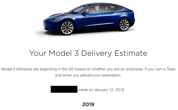 My Tesla model 3 delivery estimate